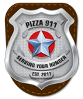 Pizza 911 Serving your hunger since 2011 badge